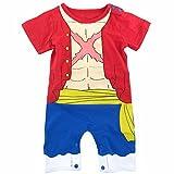 Déguisement Luffy Bébé | Body Pyjama Enfant | Déguisement Super Héros | Costume Original et Rigolo One Piece | 100% Coton (3-6 Mois)