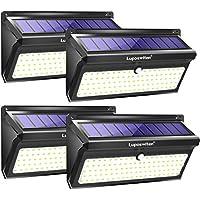 Focos Solares, Luposwiten 100 LED Lamparas Solares Exterior, 2000LM Luz Solar Exterior con Sensor de Movimiento, 2400mAh Luces Solares para Jardins, Garaje, Acera, Escaleras(4 Pieza)