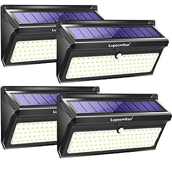 Luci Solari da Esterno 100 LED,Luposwiten 2000 LM Lampade Solari a Led da Esterno, 125°Pannello con Sensore di Movimento per Esterni, Giardino, Pareti, Cortile,Lampada Solare da Esterno(4Pezzo)