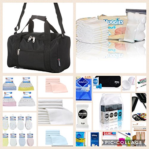 luxury-pre-packed-hospital-bag-maternity-holdall-for-mum-baby-plain-black-next-working-day-delivery-