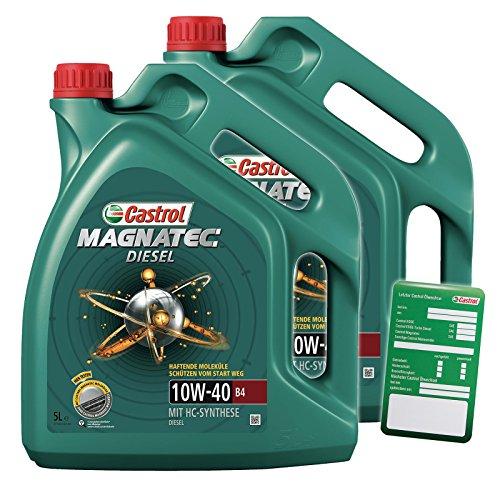 2 X 5 L = 10 litri Castrol Magnatec Diesel 10W-40 B4 olio motore con ciondolo per cambio olio.