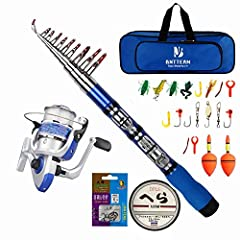 Idea Regalo - BNTTEAM 6 Set 2.1m, 2.4m, 3.0m 3.6m 99% Canna da Pesca telescopica in Carbonio e 12BB Mulinello e Esche e Linea e Ganci e galleggianti, Set Canna da Pesca (Set di Borse Mini 2.3M)