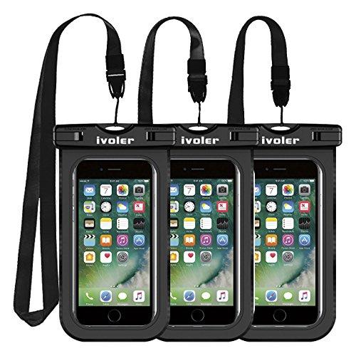iVoler [IPX8 Zertifiziert] Wasserdichte Handyhülle, [3 Stücke] Wasserdichte Hülle Beutel Tasche für iPhone X/ 8/8 Plus, Samsung Galaxy S9/ S9 Plus, usw bis zu 6.2 Zoll. (Schwarz) (Iphone-hüllen Und Beutel)