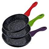Color Cook!Originale set di 3 padelle con rivestimento in Pietra Lavica pannello a nido d'ape manici soft touch colorati kit batteria pentole antigraffio fondo idoneo per piano cottura induzione 2525