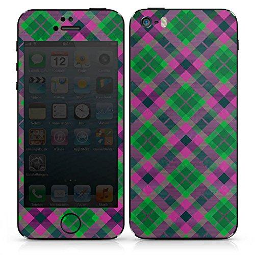 Apple iPhone 5s Case Skin Sticker aus Vinyl-Folie Aufkleber Karo Schotte Grün DesignSkins® glänzend