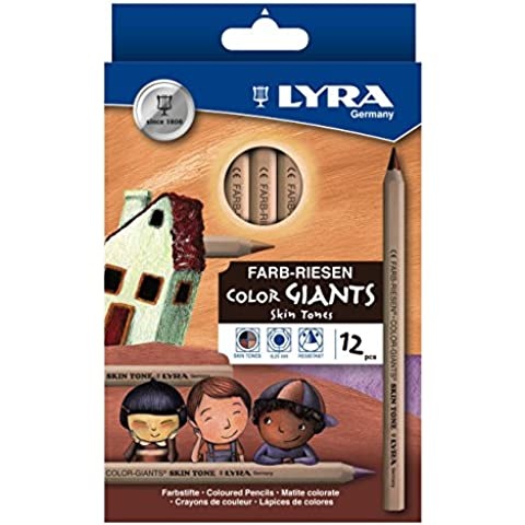 Lyra Color Giants Skin Tones - Estuche con 12 lápices hexagonales y mina, diámetro 6.25 mm