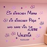 WANDTATTOO AA109 Wandaufkleber Ein bisschen Mama ein bisschen Papa und ganz viel LIEBE personalisiert Wunschnamen Geschenk zur Geburt Taufe Baby Farbmix Lila,Pink,Flieder,Rosa