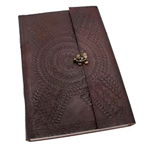 Indra A4 Embossed Leather Journal with clasp 205 x 300 mm