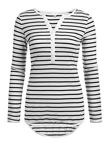 Meaneor Damen T-shirt Top 3/4 Arm Sommer Tops V-Ausschnitt Casual Gestreiftes Langarmshirt mit Knöpfen, Weißen Streifen, EU 40(Herstellergröße: L)