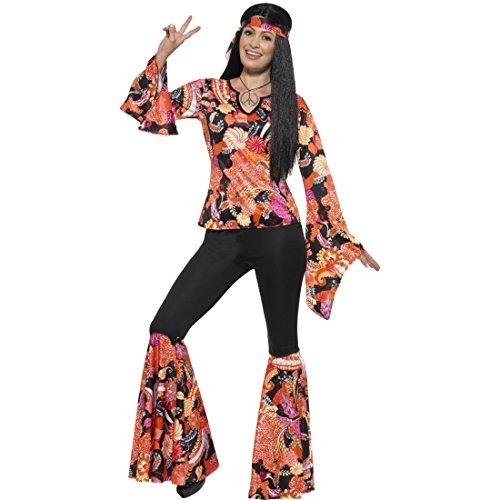 Flower Power Kostüm Hippie Damenkostüm M (38/40) 70er Jahre Outfit Schlagermove Woodstock Verkleidung Damen (70er Jahre Outfits Für Kinder)