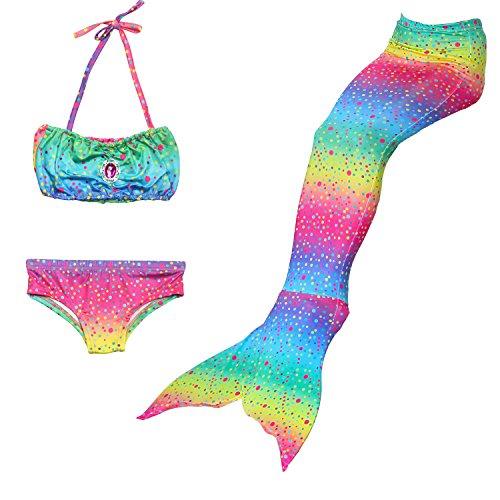Superstar88 Meerjungfrau Badeanzug Mädchen Niedliche Meerjungfrau Kostüm 3pcs Bikini-Sets ,viele Schwimmflossen zur Auswahl,das Beste Sommer Geschenke für Kinder! (130, Bunt) (Niedliche Kleine Mädchen Kostüme)