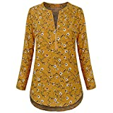 SEWORLD Sport Damen Mode Freizeit Oberteile Bluse Sommer Herbst Einzigartig Frauen Winter Casual Chiffon Bluse Split V-Ausschnitt mit Bündchen Ärmel Drucken Blusen Shirts Tops(A-Gelb,EU-36/CN-M)