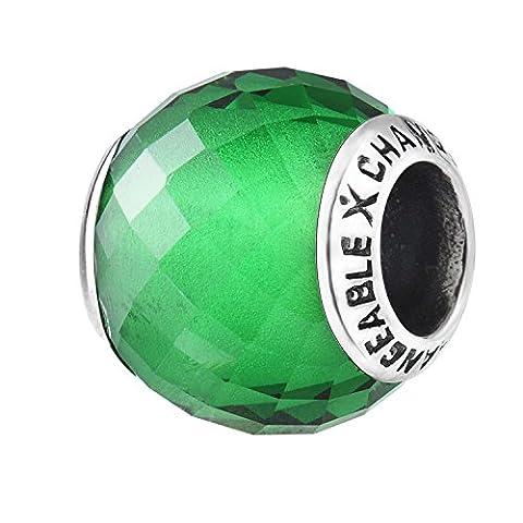 Charms Et Perles Pour Femme Charmes Individuels Beads Espaceurs Fille Argent 925/1000 Verre Plaqué Rouge Lumière Siam Petit Anniversaire Pierre