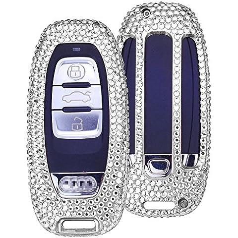 [M. JVisun] Handmade auto keyless entry chiave Bling Diamante Custodia portachiavi pelle per Audi A4L A5, A6L A7A8S5S6S7S8RS5RS7Q5SQ5etc. Pelle bovina, guscio in alluminio + portachiavi, Silver