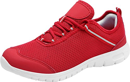 JOOMRA Unisex Herren Damen Jungen Mädchen Bequem Gym Fitness Atmungsaktives Mesh Turnschuhe Freizeitschuhe Sneaker Sportschuhe Laufschuhe Männer Frauen Rot 37 EU (38 Asien) (Frauen Kinder Schuhe)