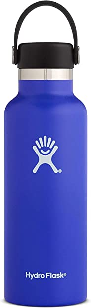 Sports Water Bottle, Double Wall Vacuum Insulated Stainless Steel Leak Proof, Standard Mouth with BPA Free Flex Cap (Dark Blu