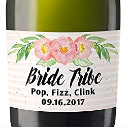 Bride Tribe II Mini Champagne Wine Bottle Custom Label Sticker for Bridal Shower Party, Engagement, Wedding Gift, Bachelorette, Elopement Invitation - Specialized Personalized Bespoke Set of 8