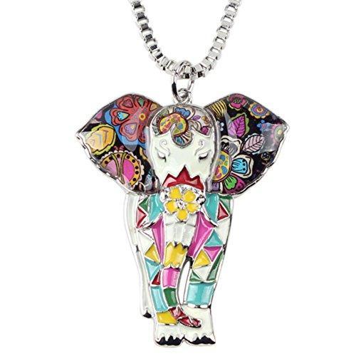 Elefant Boho Emaillierter Anhänger mit Legierung Kette Halskette mit einzigartig Anhänger für Frauen, Mädchen und Kinder (Weiß)