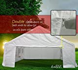 Quictent 6X8M (20X26.2FT) with GROUND BAR white Marquee Heavy Duty waterproof wedding party tent CARPORT CAR Canopy Garage