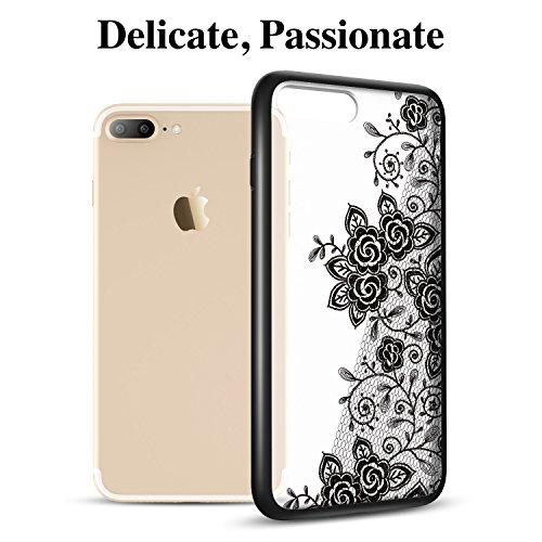 iPhone 7 Plus Hülle (5,5 Zoll), ESR® Hybrid Hülle Muster, iPhone 7 Plus Bumper Case [Weiche TPU Rahmen + Hart PC Rückdeckel] Schutzhülle für iPhone 7 Plus (Manjusaka) Blüte-Schwarz