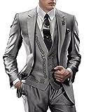 Suit Me Uomo smoking partito 3 parti ricamo abito da sposa in smoking abiti giacca, gilet, pantaloni argento L