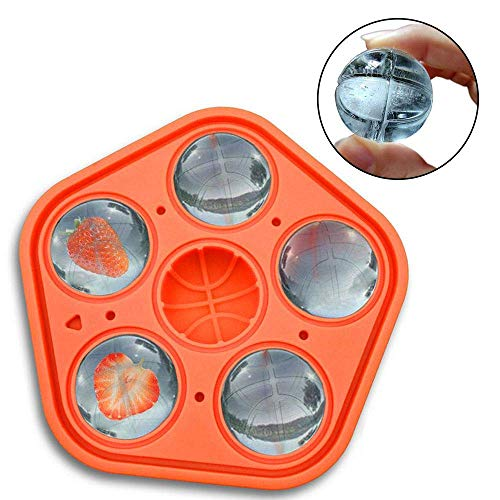 Eulan Perfect Sphere Ice Cube Moulds, Food Grade Flexible Silicone Ice Ball Maker, Ice Cube Tray with Lid, Perfect for Whiskey, Cocktails & Other Drink (Orange) - Ice Ball Tray