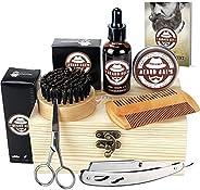Beard Care Kit, Beard Oil + Beard Balm + Beard Comb + Scissor + Razor Set for Men, Beard Grooming Kit for Home