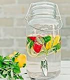 Bada Bing Getränkespender 4l aus Glas mit Zapfhahn und Deckel Bügel Tragegriff + 2er Set Fruitballs Gratis
