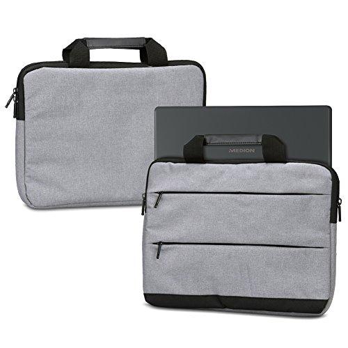 NAUC Sleeve Hülle für Medion Akoya E3222 E3223 Tasche Schutzhülle Laptoptasche Tragetasche mit Griffen & Zubehörtaschen, Farbe:Grau