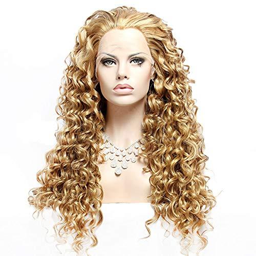 Curly Front Lace Blonde Perücke Vollsynthetische Re-styleable Hitzebeständiges Menschenhaar 24 Zoll Pony Schwanz Ombre Dark Root für Frauen (Schwanz Halloween U)