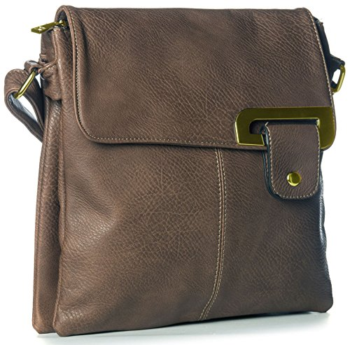 Big Handbag Shop - Borsa a tracolla donna Dark Tan - Gold Trim