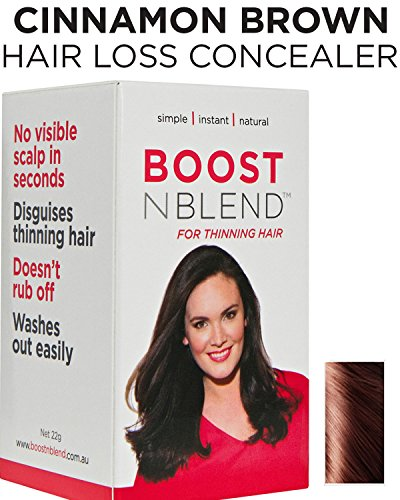 BOOSTnBLEND Warm Cinnamon Brown Hair Loss Scalp Concealer for Women with thinning hair. Cover up Visible Scalp with the BEST female hair fall treatment 22g