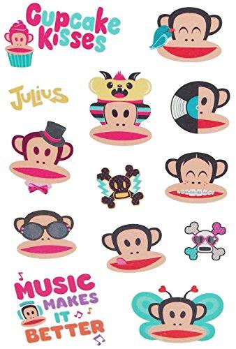 "Preisvergleich Produktbild 13 tlg. Set Haut Tattoo "" Affe Julius "" - Paul Frank Sunich - Tattoos für Kinder Affen Tiere Comic Jungen / Mädchen Hauttattoo Kindertattoos"