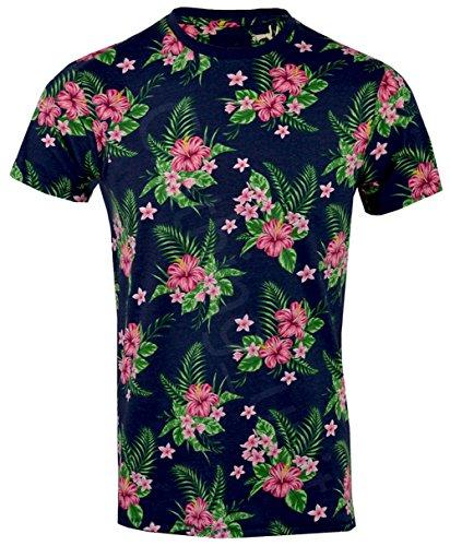 Threadbare Herren T-Shirt, Geblümt Navy Tiki