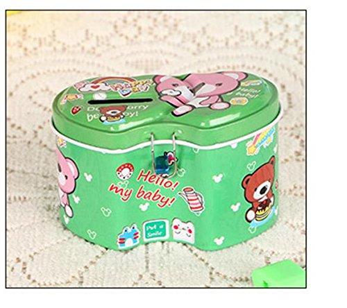 Azul Sun Glower Bancos de Dinero Simple Animal Piggy Bank Premium Hojalata Cilindro Money Bank Mobiliario, decoración y almacenamiento para niños