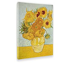 Idea Regalo - Giallo Bus 216 Quadro Stampa Su Tela Canvas, Vincent Van Gogh, I Girasoli, 50 x 70 cm