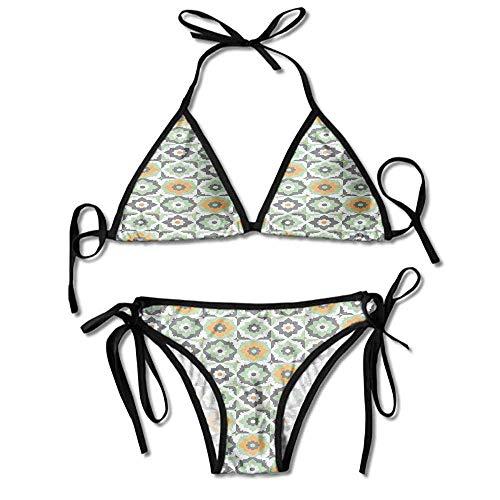KAKALINQ Bikini Bottoms Scrunch Butt Floral Shapes Moroccan Tile Pattern Printing Bikini (Bikini Butt Bottoms Scrunch)