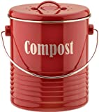 Typhoon Vintage Kitchen Compost Caddy, Red