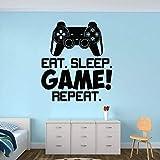 Eat Sleep Game Repita La Cita Vinilo Etiqueta De La Pared Juegos De Video Controlador De Estilo Tatuajes De Pared Niños Sala De Juegos Decoración Juegos Arte 42 * 47 Cm