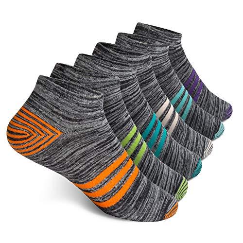 Vkele 6 Paar Sneaker Socken   Baumwolle classic   Orange Weiß Grün Lila Hellblau Lichtblau   Größe: 43 44 45 46