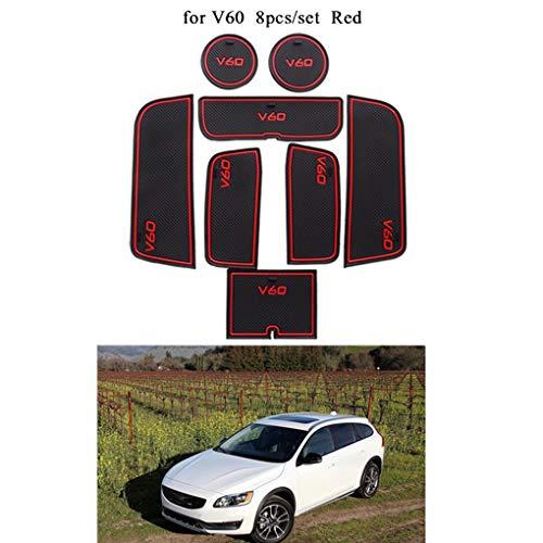 Lorjoyx 8pcs / Set Porta Bicchiere Porta Groove Storage Box Antiscivolo Pad di Gate Mat Slot di Ricambio per Volvo V60