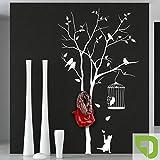 DESIGNSCAPE® Garderobe Baum mit Vogelkäfig und andersfarbigen Blättern mit 8 Garderobenhaken 87 x 160 cm (Breite x Höhe) Farbe 1: lindgrün inkl. 8 Edelstahl Wandhaken DW811006-M-F16