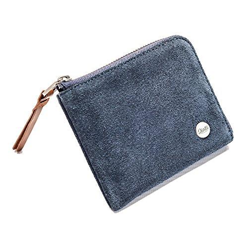 QIOTTI ® Leder Geldbörse Portemonnaie aus Echtleder mit Kleingeldfach und Reißverschluss I Münzfach Geldbeutel I Geschenk Brieftasche für Damen und Herren (Raw Deep Blue) -