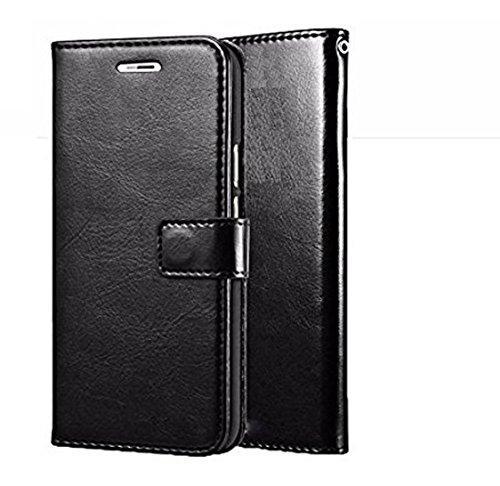 nKarta (TM) Vintage Leather Wallet Flip Book Cover Case for Lenovo A7000/ K3 Note - Black