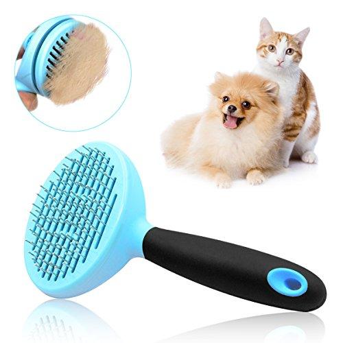Hundebürste & Katzenbürste für Mittel- und Langhaar Softbürste Fellpflege Zupfbürste für Hunde und Katzen (Blau)