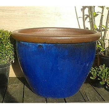 Blumentopf 43 cm Durchmessser, blau glasierte Keramik Steingut ...