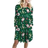 Weihnachten Kleid,Casual Rundhals Partykleid Langarm Resplend A-Linie Minikleid Dress Weihnachtsmann Print Abendkleid Mit Tasche