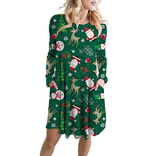 Fenverk Damen Elf Weihnachtsmann Drucken Weihnachten Swing Party Kleid Pudding Tasse Kuchen BrüSte MäDchen Lange äRmel Schneeflocke Besondere Geschenk Frau Claus Kleider(Grün,M)