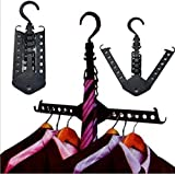 GFYWZ Hangers Black Multifunction Telescopic Collapsible Hanger Wet and dry Dual-use Travel Magic hangers Portable(pack of 10)