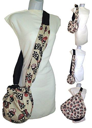 Bolso CALAVERAS y Negro, Bolso para la playa, bolso para la compra, bolso de moda. Bandolera que crece de tamaño.